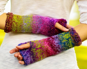 Ladies Knit Fingerless Gloves Arm Warmers Christmas gift