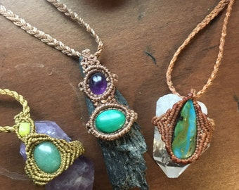 Raw chunky crystal necklaces