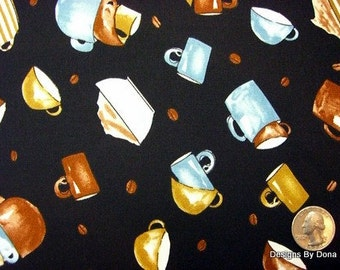 One Yard Cut Quilt Fabric, Coffee Mugs, Cups, Beans, Brown, Tan & Blue on Black from Timeless Treasures, Sewing-Quilting-Craft Supplies