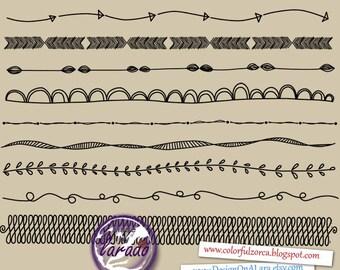 Digital border, Handsketched Border doodles, Borders Clip Art, Digital Frame, Wedding clip art, Text Dividers, BirthdayEmbellishment