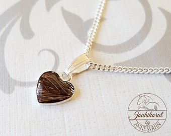 Sterling silver heart necklace with horse hair