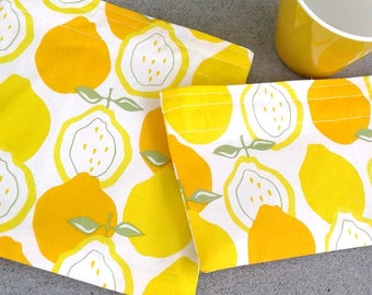 Reusable Snack Bag with fresh Lemons, Sandwich bag, Zero waste lunch, waste free lunch, sustainable, Summer picnic, treat yourself