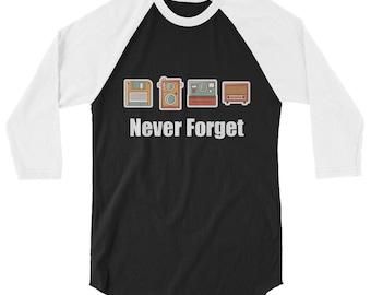 Never Forget Floppy Disk, Camera & Radio 3/4 Sleeve Raglan Baseball Shirt