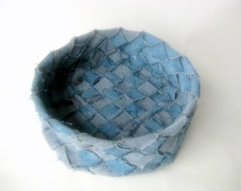 Denim basket recycled blue jeans fabric rustic