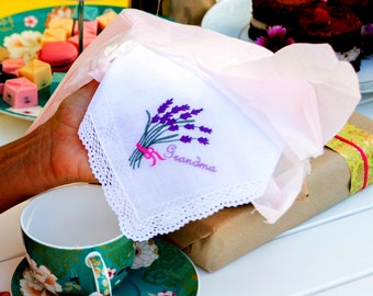 Gorgeous Lace edged Cotton Handkerchief, Hanky with an Embroidered Lavender and with the word Grandma