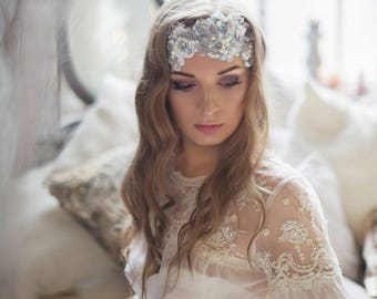 Pearl Crystal headpiece~Crystal Lace headpiece~Pearl wedding hair accessory~Bridal headpiece