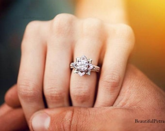 UNIQUE Flower Rose Diamond Engagement or Right Hand Ring