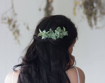 Greenery Comb- Greenery Hair Accessory- Vine Hair Comb- Boho Wedding Headpiece- Sage Wedding Comb- Bridal Comb- Greenery crown- Green Crown