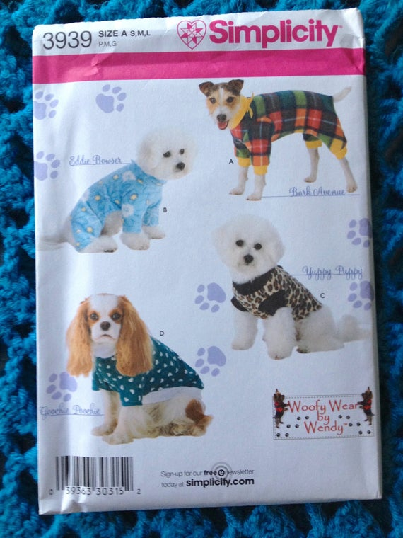 Simplicity 3939, Dog Clothes in Three Sizes, Woofy Wear, Fleece Dog ...