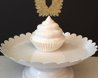 Set of 12, Angel wings Cupcake Topper, baby shower cupcake topper, baby sprinkle shower cupcake topper