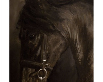 Horse Portrait by award winning artist JOHN SILVER. Personally signed A4 or A3 size Print. HO001SP