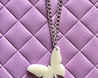 Cream Butterfly Laser cut Necklace