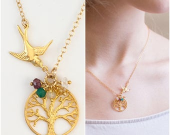 Family Tree Necklace, Mama Bird Necklace, Custom Birthstone Necklace, Unique Gift for Her, Outdoors Gift, 14k Gold Filled, Gemstone Necklace