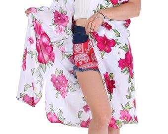 Pink White Floral Kimono, Boho Kimono, Womens Kimono Beach Cover Up, Kimono Cardigan, Kimono, Shrugs, Boho Top, Festival, Tribal Kimono