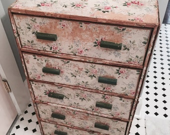 Sale RARE BIG vintage pink rose ditsy floral wallpaper chest dresser screen wood cardboard vanity antique 1930 cottage shabby french chic as