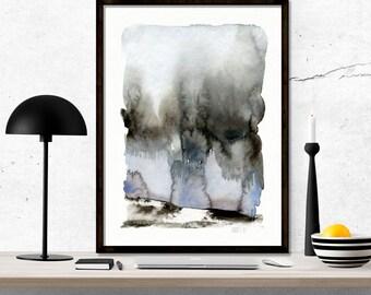 Minimalistische Aquarell. Minimalistische moderne Aquarell Kunstwerk. Moderne minimalistische Kunst Druck. Abstrakte Landschaft Giclée Kunst.