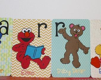 Sesame Street themed Alphabet cards, Name Cards, Baby room decoration, Kids decoration
