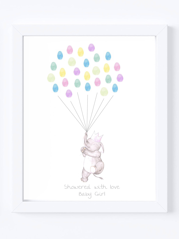 Baby Shower Guest Book Keepsake Art Elephant Holding Thumb
