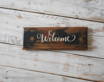 Welcome Country Shabby Chic Pallet Wood Rustic Handmade Sign Stain & Vinyl