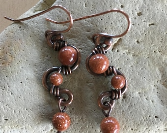 Goldstone weave earrings - Copper - Wire Wrapped - Handmade - Beaded - Artisan Jewelry