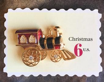 Vintage Toy Train Brooch Enamel Rhinestones Avon Smithsonian Institution US Christmas Stamps Inspired