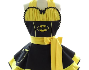 Retro Apron - Batty Girl Womans Aprons - Vintage Apron Style - Comics Pin up Rockabilly Cosplay Lolita