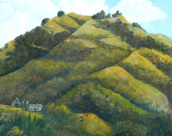 Painting of hills, Landscapes, Impressionistic, Hill paintings, Hill landscapes,  Moraga Hills, on a Beautiful CANVAS PRINT