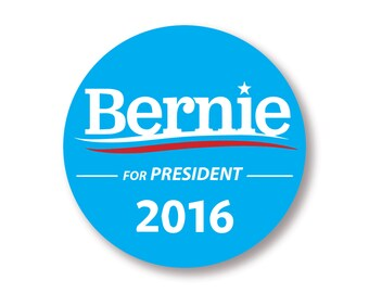 "1 ""Bernie Sanders For President 2016"" Blue Circle Bumper Sticker  - Indoor or Outdoor"