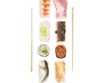 Sushi Platter Watercolor Illustration Print