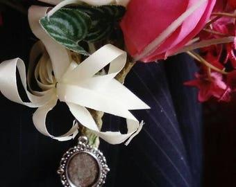 New Bride/Groom Handmade Buttonhole, Bouquet, Lapel, Garter Cameo Memory Brooch