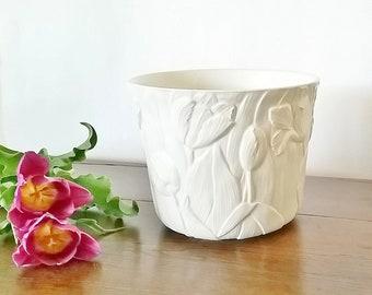 White Ceramic Planter Pot, Succulent Planter, Succulent Pot, Ceramic Planter Medium, Vintage Plant Pot, Vintage Planter, Ceramic Plant Pot