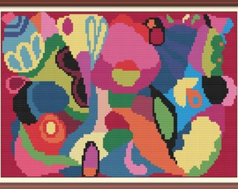 Abstract Artwork 1 Cross Stitch Pattern PDF Chart Instant Download Modern Colorful Cross Stitch Pattern