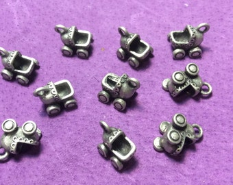 3D Baby Stroller - Baby Carriage Pewter Charms