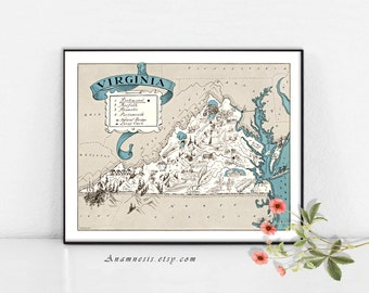 VIRGINIA MAP PRINT - fun 1930's vintage picture map to frame - perfect housewarming or wedding gift - size & color choices - personalize it
