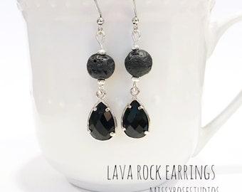 black lava earrings, lava bead earrings, lava stone earrings, lava jewelry, jewelry handmade, essential oil jewelry for women, lava crystal