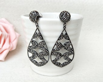 5 Pairs Fashion water-drop earrings Paved Rhinestone Crystal Charms Dangle earrings Jewelry for women ER448