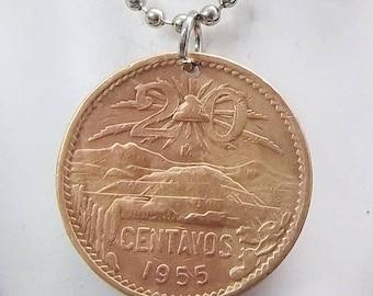 Coin Necklace, Mexican 20 Centavos, Coin Pendant, Men's Necklace, Women's Necklace, Ball Chain, 1955