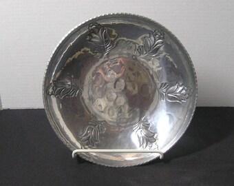 1970s Vintage Buenilum Hand Wrought Aluminum Bowl with Embossed Flowers, Hammered Aluminum, Vintage Aluminum Wares