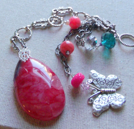 Pink window gemstone charm - agate sun catcher - silver butterfly  - hanging stone - ornament - rear view mirror - hostess gift