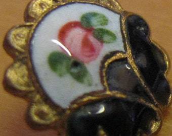 1 champleve French enamel button flower around a butterfly design scalloped brass edge 1700's  arts & crafts, 8 mm number 181