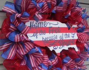 Patriotic Wreath Home of the Free Deco Mesh Wreath July 4th Wreath United States Wreath Veterans Day Wreath Military Wreath Memorial Day