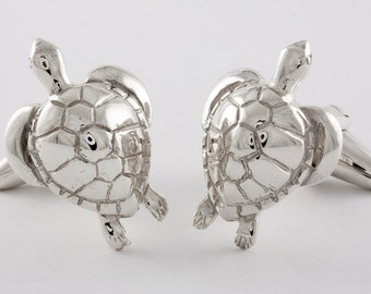 Turtle Cufflinks, Sterling Silver, personalized