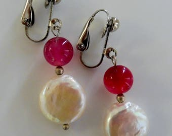 Clip on Pearl earrings Freshwater pearls Pink earrings Cream earrings  Silver Semi precious Gemstone jewellery
