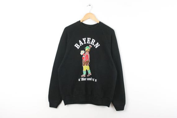 VTG — BAYERN FCB — Raglan Sweatshirt Jumper Pullover Blouse Beer Culture — Large L — Rare European Vintage Fashion 古着 Sportswear Streetwear 3SsWHn