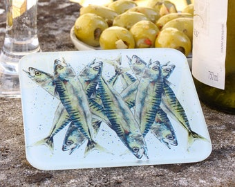 Sardines Coaster - Fish Coaster, Coastal Decor, Seaside Decor, Glass Coaster, Beach Theme, Jumble of Sardines
