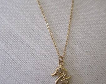 Gold Carved Seahorse Necklace - Seahorse Necklace - Coastal Jewelry - Nautical Jewelry - Beach Necklace
