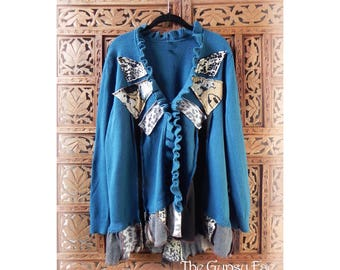 Beautiful Blue Cardigan Sweater Upcycled Refashioned Patchwork Animal Print Romantic Gypsy Boho Sweater Size XL 'Lola' by the Gypsy Fae