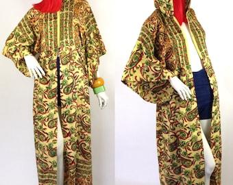 Vintage 1960s 70s Indian Cotton hood maxi dress / hippie gown / coat / Marrakesh /Festival / Woodstock / tribal