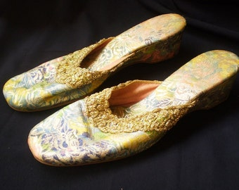 Vintage Silk and Satin Slip On Shoes-1950's-ON SALE