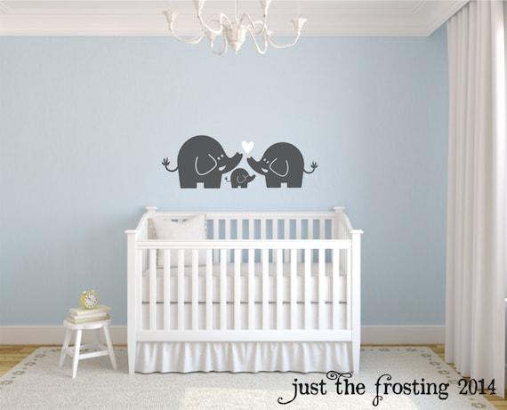 Elefanten Familie Wandtattoo Kinderzimmer Elefant Baby Junge Oder Madchen Wandkunst Dekor